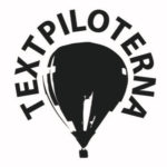 Textpiloternas logotyp: en luftballong och ordet Textpiloterna